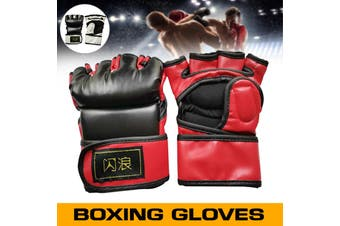 1 Pair PU Leather Gloves Fighting Taekwondo Sparring Grappling Boxing Training Shock Absorption / Slip / Protect Palm L/XL - redblack