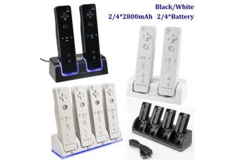 2 Color 2/4 Charger 2020 New Charger Charging Dock Station For Nintendo Wii Remote UAS+2/4*2800mAh Rechargeable Battery(4 chargers and 4 Battery)