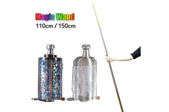 Magic Wand Magic Bullets Steel Bullets Metal Gold Hoop Sticks Empty Rods Scarves Become Sticks Magic Props Bullets Magic Spring Stick Children Stage Magic Toy Silver 1.1m / Silver+Gold 1.5m(silver,110 cm)