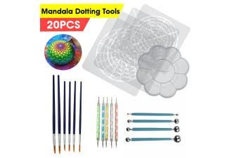 20Pcs Pottery Mandala Dotting Tool Kit Rock Stone Dot Art Painting Paint Stencil(20pcs)