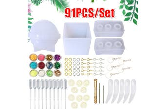 91 PCS/Set DIY Handmade Crystal Glue Mould Mold Set Resin Pendant Jewelry Silicone Kit Home Decor