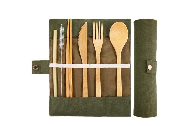 Reusable Travel Bamboo Utensils With Case Travel Camping Cutlery Set Chopsticks And Straw For Camping Portable Flatware Cutlery Set With Case Bamboo Utensil Set 7 Piece Green Matt Blatt