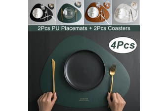 2Pcs/Set Washable Kitchen Placemats Dining Table Bowl Mats PU Leather