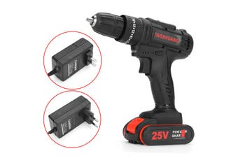 3/8'' 25V Cordless Drill Screwdriver Impact Driver LED Worklight With 8000mAh Battery(US Electric drill)