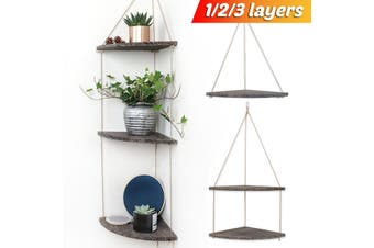 Wooden Wall Storage Rack Rope Hanging Plant Flower Pot Corner Shelf Home Decor(3Layers)
