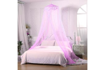 Mosquito Net Bed Canopy Netting Fly Insect Protection Bed Outdoor Curtain Dome(purple)