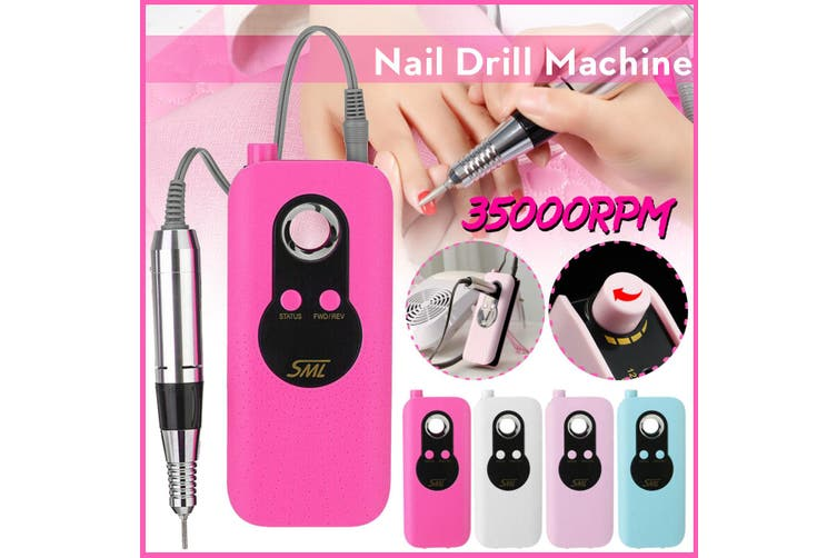 35000RPM Electric Nail Art Drill Pen Machine Portable Rechargeable Manicure Pedicure Tool(pink,US PLUG)