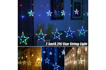 4 Colors Star Curtain Window String Light LED Fairy Party Wedding Outdoor Garden Lamp(white)