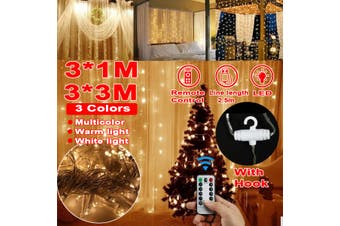 300LED String Curtain Lights Waterfall Window Night Lights Christmas Party Decor(3x3M Warm Light)
