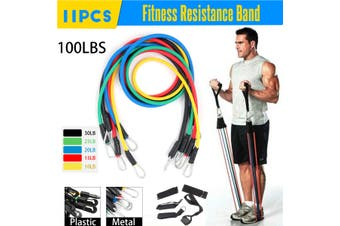 11pcs / Set Natural Rubber Latex Fitness Resistance Bands Exercise Tubes Practical Elastic Training Rope Yoga Pull String Metal Iron Hook(Metal Hook)