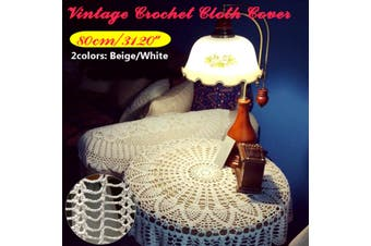 80cm/31Inch Vintage Lace White Cotton Crochet Round Table Cloth Cover Towel Tea Coffee Wedding Party Christmas New Year Desk Decor(beige,80 cm)