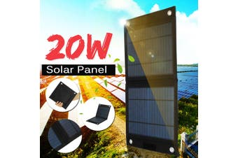 20W 12V Solar Panel DC/USB Charging Dual USB Camping Traveling Charger