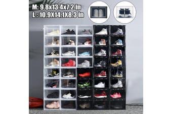1/2/3Pcs Foldable Plastic Transparent Shoe Box Storage Clear Organizer +3(black,M(1 pcs))