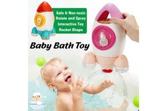 Baby Kids Creative Rocket Shape Bath Toy Rotating Water Spray Swimming Shower Bathtub Interactive Toys(purple)