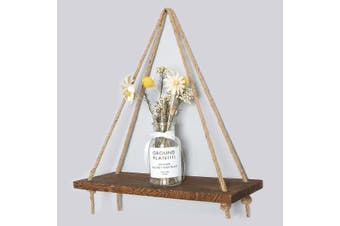 Wooden Hanging Rope Shelf Wall Mounted Floating Shelf Storage Rustic 1/2/3 Tiers(1 Tiers)