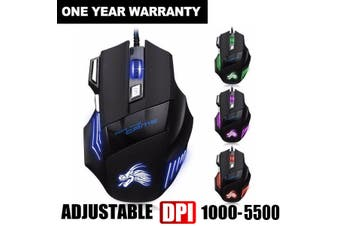 5500 DPI 7 Button LED Optical USB Wired Gaming Mouse Mice For Pro Gamer(black,5500DPI)