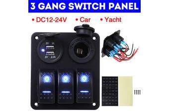 【NEW】(Universal) Waterproof 3 Gang Switch Panel LED Dual USB ON-OFF Rocker Control Toggle Switch For Car Marine Boat RV Circuit Breaker Caravan Truck Headlight Horn Fog Light DC12-24V(blue,3 Gang)