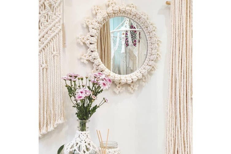 New Type Macrame Woven Wall Hanging Tapestry Mirror Chic Bohemian Geometric Art (B)