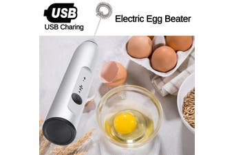 Cordless Electric Egg Beater for Milk Coffee Tea Stir Bar Baking Cream Foamer Automatic Milk Foam Speed 8000rpm/ 10000rpm/ 12000rpm(silver)