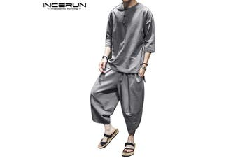 INCERUN Linen Martial Arts Kung Fu Tang Suit Sets Short Sleeves Shirts & Pants Suit(grey,2XL)