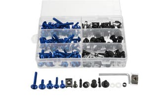 6 colors 223pcs Motorcycle Sportbike Windscreen Body Bolts Kit Fastener Clips Screws Aluminum(blue)