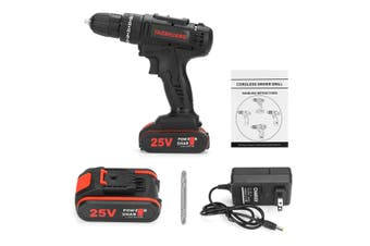 3/8'' 25V Cordless Drill Screwdriver Impact Driver LED Worklight With 8000mAh Battery(US Electric impact drill)