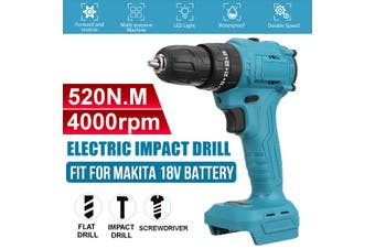 18V 520N.m. Li-Ion Brushless Cordless 3/8'' Impact Drill Driver Replacement for Makita Battery (Batteries are not included )(With Impact Drill)