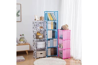 4/5 Layers Simple Bookshelf Easy Assemble Floor Standing Bookcase Home Organizer 3Colors - pink