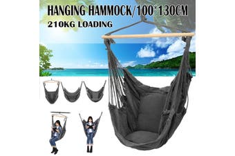 Garden Hammock Chair Hanging Swing Seat With Cushion Outdoor Camping Christow(Single Hammock Chair)