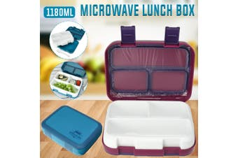 Microwave Lunch Box Leakproof Bento Box for Children Kids 3 Grids Portable Food Container Storage Picnic(blue)