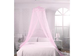 Mosquito Net Bed Canopy Netting Fly Insect Protection Bed Outdoor Curtain Dome(pink)