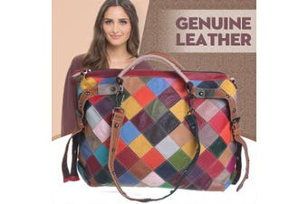 Genuine Leather Stitching Patchwork Vintage Large Capacity Handbag Crossbody Bag(TYPE C)