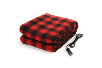 【New】(150*110cm-BLACK/White/Red Plaid-Car Charger) Large Electric Blanket Cosy Warm Soft Polar Fleece Heated Backseat Cushion For Home Car Van Truck Trunk Bed Travel Camping DC12V(Red Plaid)