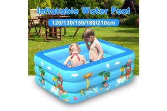 Portable Inflatable Swimming Water Pool Kids Children Home Use Outdoor Indoor(blue,130x85x50cm)