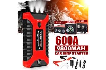 600A 99800mAh Portable 12V Car Jump Starter Power Bank Booster 4 USB Battery Charger Battery Clip Kit