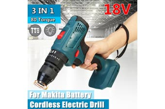 18V Electric Hammer Drill Keyless Chuck 10mm Power Tool Wood Steel Impact 3 in 1(blue,10 mm)