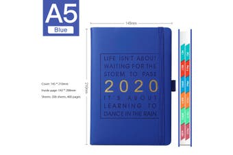 2020 Plan Diary Journal Notebook Hardcover Travel Business Schedules 200 sheets(blue)