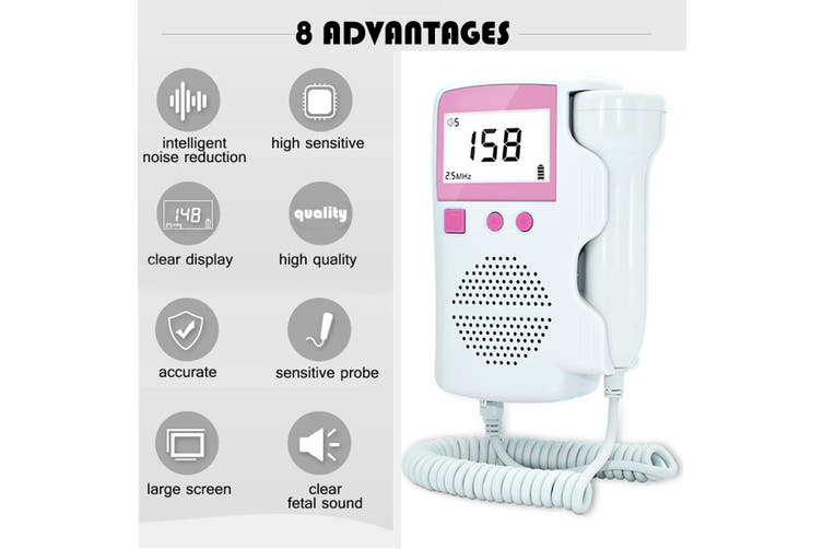 LCD Doppler Portable Baby Heartbeat Baby Heart Rate Monitor Stethoscope Screen Display(Upgrade Version)