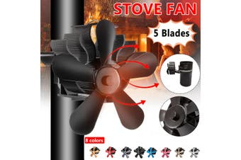 1500RPM 220CFM 5 Blade Quiet Wall Mount Stove Fan Fireplace Heat Powered Saving Ecofan(black)