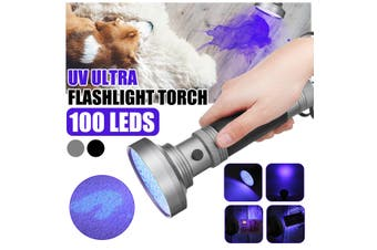 UV Ultra Violet 100 LED Flashlight Torch Mini Blacklight Inspection Light 395 (silver,Type F(100 LED))