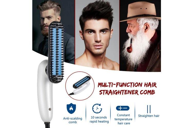 Hair Straightener Comb Man Beard Grooming Boy Multifunctional Hair Comb Brush US Plug(US Plug)