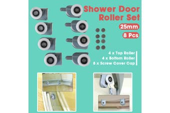 8Pcs 25mm Shower Door Rollers Top and Bottom Wheels Set Pulleys Runners Replace
