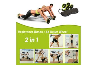 Home Gym Resistance Bands Ab Roller Wheel Core Exercise Strength Trainer (green)