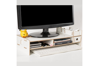 New Computer Screen Desktop Stand Wooden Monitor Laptop TV Riser Pockets Holder(white)