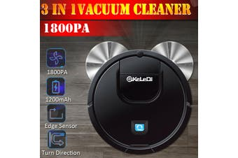 1800PA Cleaning Robot 2 In 1 Rechargeable Sweeping Robot Intelligent Automatic Induction dust Collector sweeper Household floor Cleaning Tool(black)