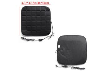 Heated Seat Cushion, 12V Car Heat Seat Cushions Cover Pad Winter Warmer Nonslip Heated Seat Cover - Universal Fit for Auto Supplies Home Office Chair(Black)(Square Black Heating Mat)