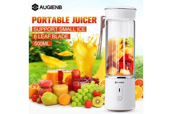 【HOT SALE 】AUGIENB Portable 500ml Blender Juicer 3D Cup USB Rechargeable Smoothie Bottle(white,500ml 6 Blades)