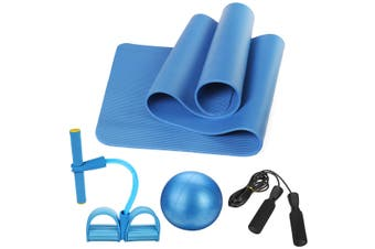5Pcs Yoga Mat Set Pedal Tension Rope Pilates Ball Exercise Fitness Gym Workout(blue)