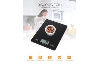 【Free Shipping】 100% Original DIGOO DG-TGK1 Digital Kitchen Toughened Glass Scale 1g/5kg Food Scale Ultra Slim Tempered Glass LCD Display Kitchen Baking Mesuring Tool - Black