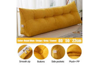 Bedside Cushion Triangular Bedside Big Pillow Large Backrest Soft Bed Backrest Soft Bed Headrest Long Pillow 80*50*22cm(yellow,A-Orange)